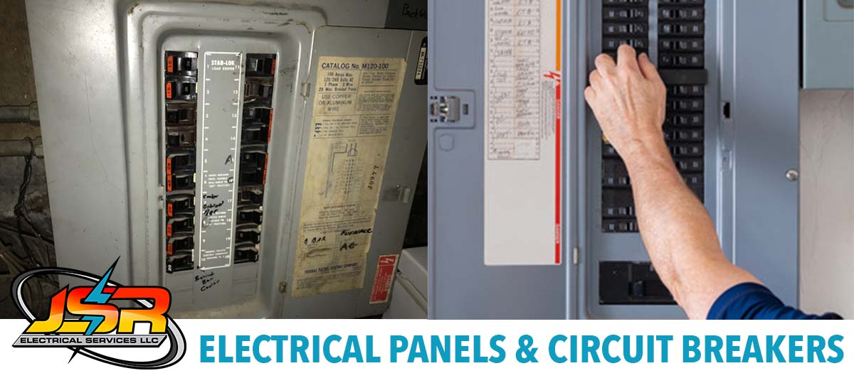 Two Electrical Panels, one old and dangerous, the other updated and safe.