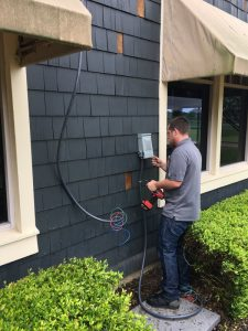 Outdoor power installation with a JSR electrician.