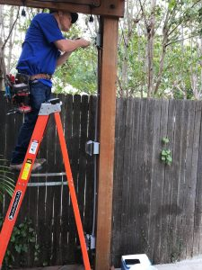 Outdoor Pergola lighting installation with a JSR electrician.