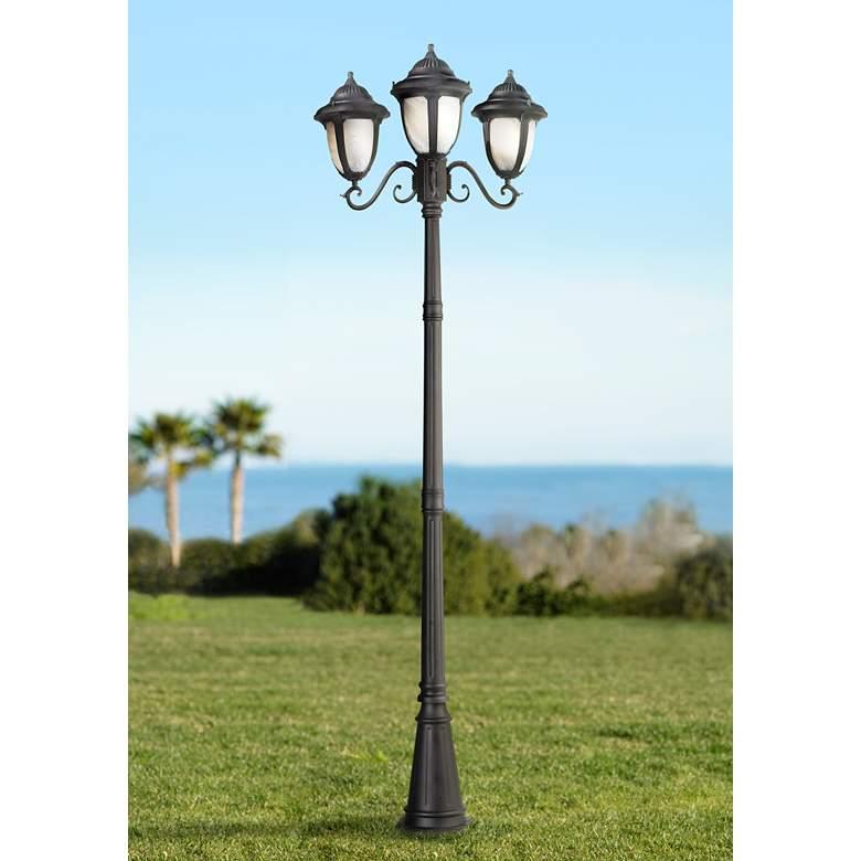 """Casa Sorrento Black Finish 90 1/2""""H 3-Light Post Light from LampsPlus"""